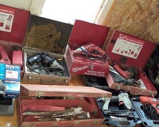 Milwaukee finish nailers, drills, sawzall, Echo chainsaw