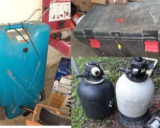 water tank, pool filters, job box