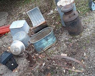 garden art, copper tub, milk container