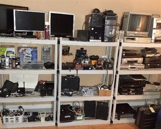 labeling machine, Sony monitor,  VHS players, DVD player (Magnavox, Hitachi, Samsung, Sanyo), Samsung VHS/DVD player, JVC fm/am computer controlled receiver, Magnavox stereo, Dell & HP computer towers, monitors, Sony color video printer, Interex and Belkin surge suppressor, Motorola home monitoring camera, Aiwa digital audio system/speakers