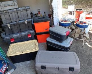 job boxes, Klein Tools, Rubbermaid, garage stools