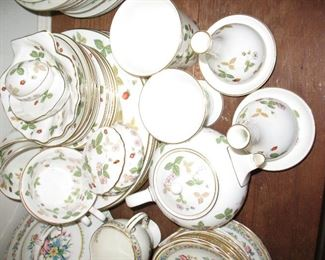 Group of Wedgewood China in Wild Strawberry pattern