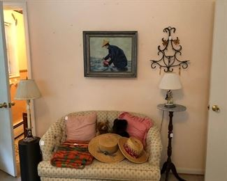 Love seat, lamps, oil painting, pillows, etc.