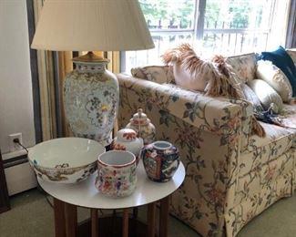 Asian lamp, bowls and ginger jar.
