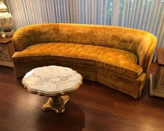 Mid Century Luxe Gold Couch!  Cue the Frank Sinatra and Martinis