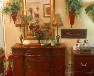 Antique mahogany sideboard, decorator mirror