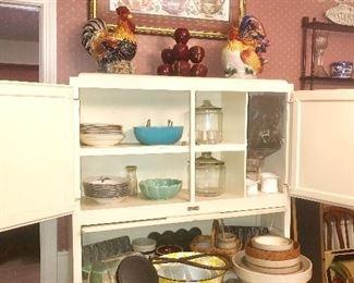 Crock bowls and vintage kitchen ware.  Seller's cabinet not for sale