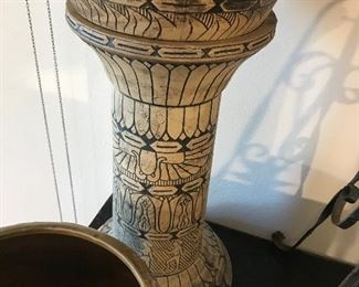 Monmouth Stoneware Egyptian Revival Jardiniere And Pedestal