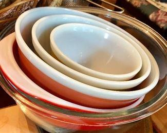 Pyrex bowls.