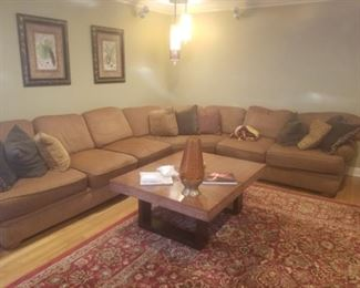 Large sectional with decorative pillows
