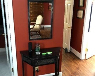 Console table with matcing mirror.  Hand carved detail