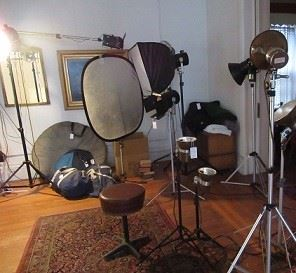 Lights, light diffusers, and stools.