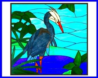 Fabulous Hand Made Stained Glass Heron