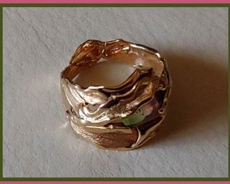 14K Gold Custom Made Ring with Watermelon Tourmaline Stone