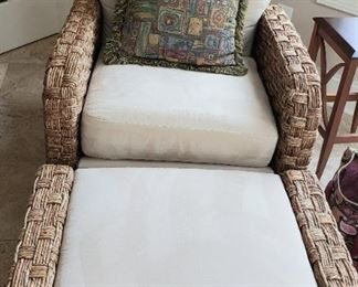 135 Wicker Rattan Chair and Ottoman