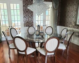 138 Casetta 90 Inch Pedestal Dining Set with Ten Chairs