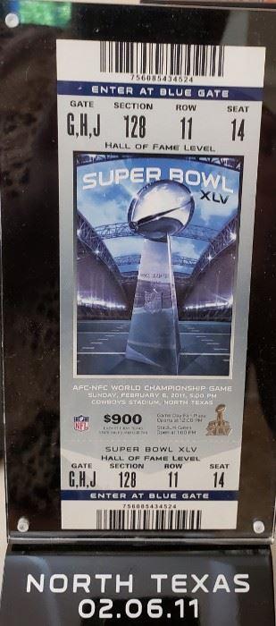 2011 Super Bowl Encased Ticket