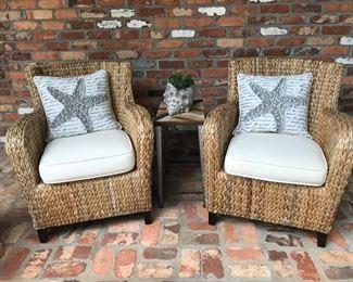 Pair of banana leaf chairs