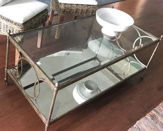 Vintage  cocktail table with smoked glass bottom shelf