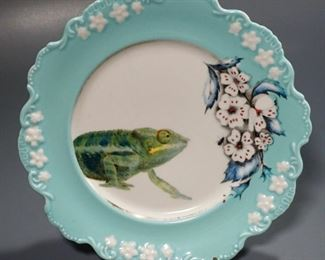 Lot 2 Chameleon Porcelain Plate Anthropologie Lou Rota Nature $5 Starting Bid