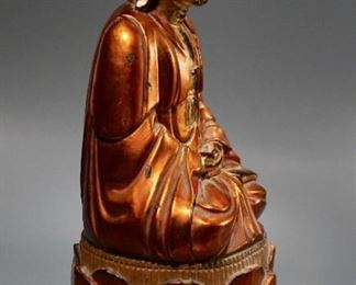 Lot 9 Carved Wood Gilded Buddha on Lotus Base $5 Starting Bid