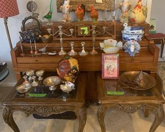 166- Silver, sterling silver, glass top coffee tables and more!