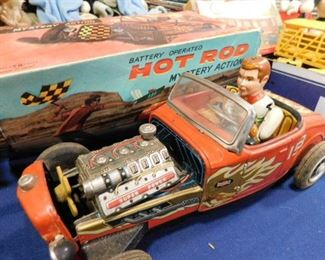 Vintage Hot Rod Tin Wind up car