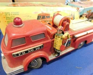 Vintage Battery operated tin fire truck