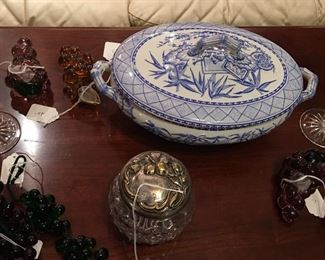 Great 19th C blue and white covered vegetable, dresser jar, pair of Waterford candlesticks, lots of glass grapes