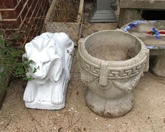 Decorative outdoor items of all kinds.  Lion is tame and has not (yet) bitten anyone
