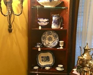 Another Mahogany corner shelving unit with loads of Flo-Blue