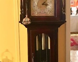 Mahogany Grandmother clock - buy it and you get the key tassels, too