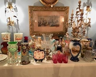 Art glass, lustres, pitchers, vases and bowls of all sizes - many 19th C