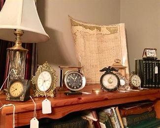 Plenty of vintage clocks - lamp is Waterford