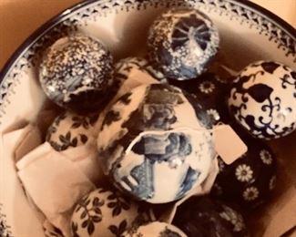 Bowl full of Asian porcelain balls
