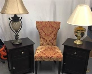 Chairs, End Tables, and Lamps