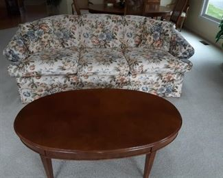Flowered Sofa, Wood Coffee Table