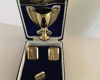 Nice gift for the golfer - tie tack, cufflinks and small display cup to store them.