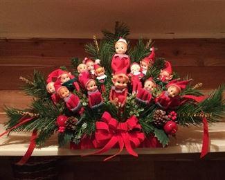 Christmas elf mantle display.