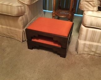 Pair of upholstered foot stools.