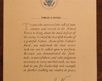 Signed Letter to soldier from President Truman at end of WW2.