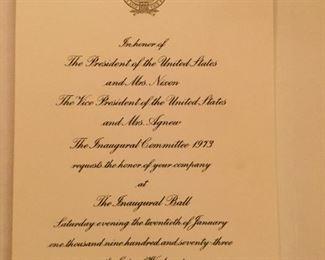 Invitation to Nixon inaugural ball.
