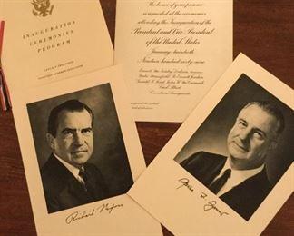 Invitation to inauguration of Richard Nixon and Spiro Agnew.