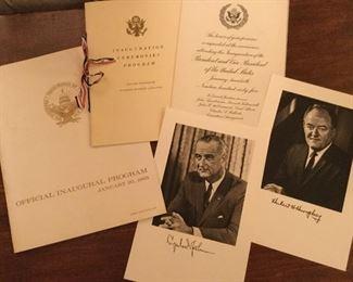 Invitation with programs to inauguration of Lyndon Johnson and Hubert Humphrey.