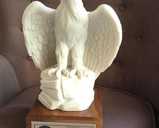 Large alabaster eagle.