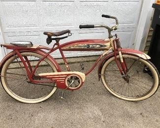 Columbia bicycle from very early 1950's. Front light has been removed and is setting on rear rack in photo. Also included is the bicycle registration for this bike dated 5-11-1952.