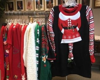 Never forget your Santa Claus and Holiday sweaters. We have a whole rack.