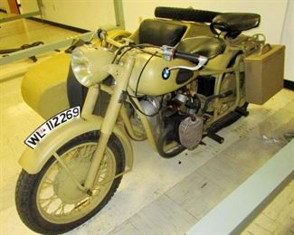 1948 BMW / Dnjper Motorcycle. In 1945 the BMW  factory in Teuringen Germany was over run by the Red Army and the equipment and parts were stolen and shipped to the Soviet Union where the motorcycles were assembled and produced for a few years after the war but otherwise the bike is completely as a German motorcycle and side car produced during WW II between 1940-1945 for the German Army. Runs great
