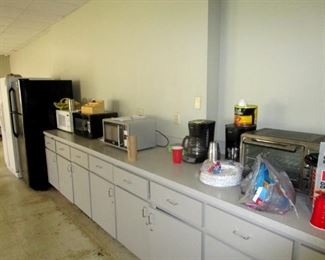 Snack room toaster oven microwave ovens and refrigerators