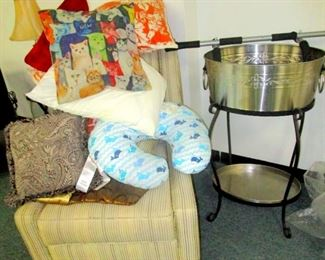 Sofa chair, cushions, big ice tub for beverage bottles and cans